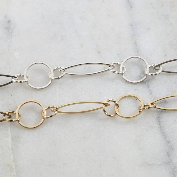 Base Metal Large Twisted Circle Marquise Chain in Shiny Gold and Shiny Silver Nickel Lead Free / Chain By the Foot