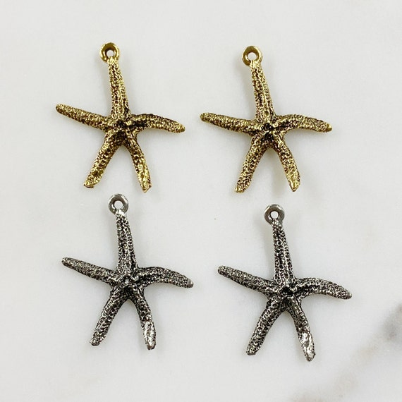 2 Piece Pewter Starfish Charm Beach/Ocean Charm Choose Your Color Antique Gold or Antique Silver