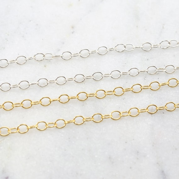 Oval Link Chain 14K Gold Filled or Sterling Silver Perfect for Extenders 4mm x 5mm/ Sold by the Foot / Bulk Unfinished Chain