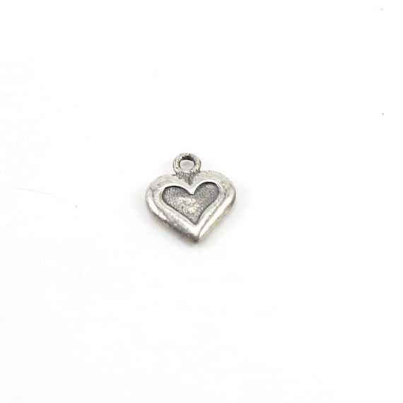 Small Double Sided Heart Charm with Stamped Heart and Cross in Sterling Silver Dainty Heart Love Pendant