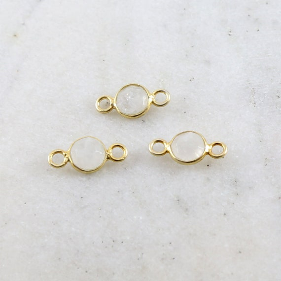 Small Dainty Little Faceted Rainbow Moonstone Round Double Loop Gold Vermeil Connector Bezel Charm 7mm Stone