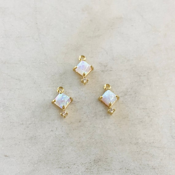1 Piece Tiny Square Opal Cubic Zirconia Gold Plated Dainty Drop Bezel Charm 9mm x 6mm Gemstone Gold Rimmed Pendant