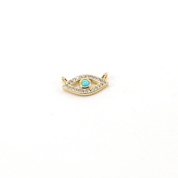 Gold Pave CZ Evil Eye Connector with Blue Stone Protector Pendant Rhodium Plated Necklace Charm
