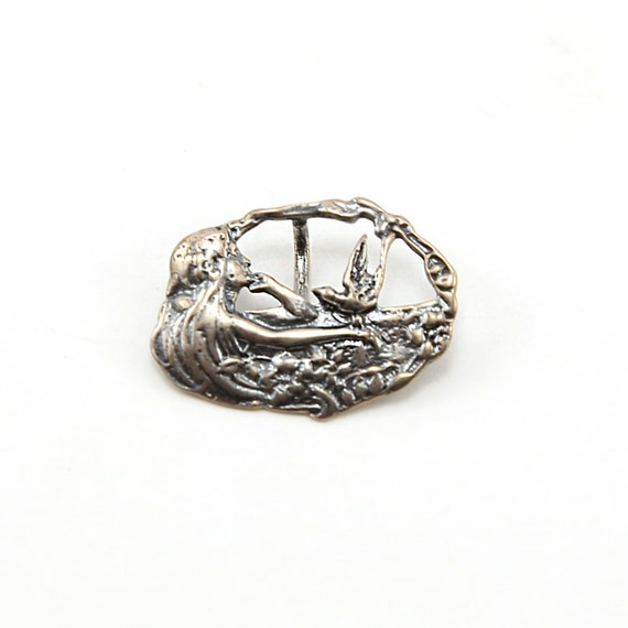 Sterling Silver Maiden Mermaid with Dove with Floral Accents Oval Button Wrap Bracelet Button