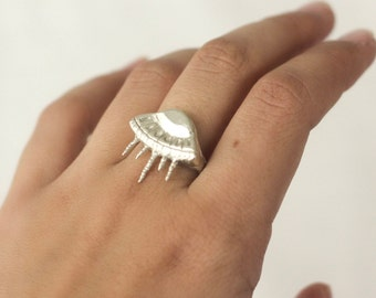Flying Saucer Ring, UFO Ring, Sterling Silver Statement Ring