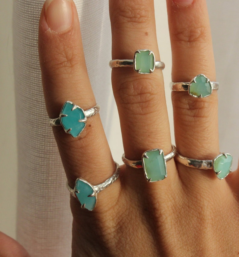 Prong set silver ring Free form Brazilian Amazonite ring blue green gemstone ring