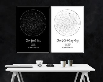 Custom Star Map/ Constellation map/ Night Sky Map/ Personalized boyfriend Gift/ Birthday gift/ Sky Map Poster/ Star Map Custom Digital Pdf