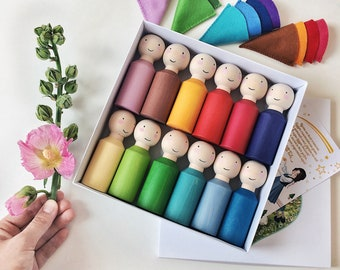Peg people а set of 12 dolls / Peg dolls / Wooden rainbow Peg people / montessori materials / Waldorf rainbow people / gnomes with wool hats