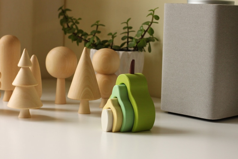 Nursery Decor Stacking Toy Toddler Gift Wooden Toy Montessori Materials Natural Toy Waldorf Toys Toy Stacker the PEAR