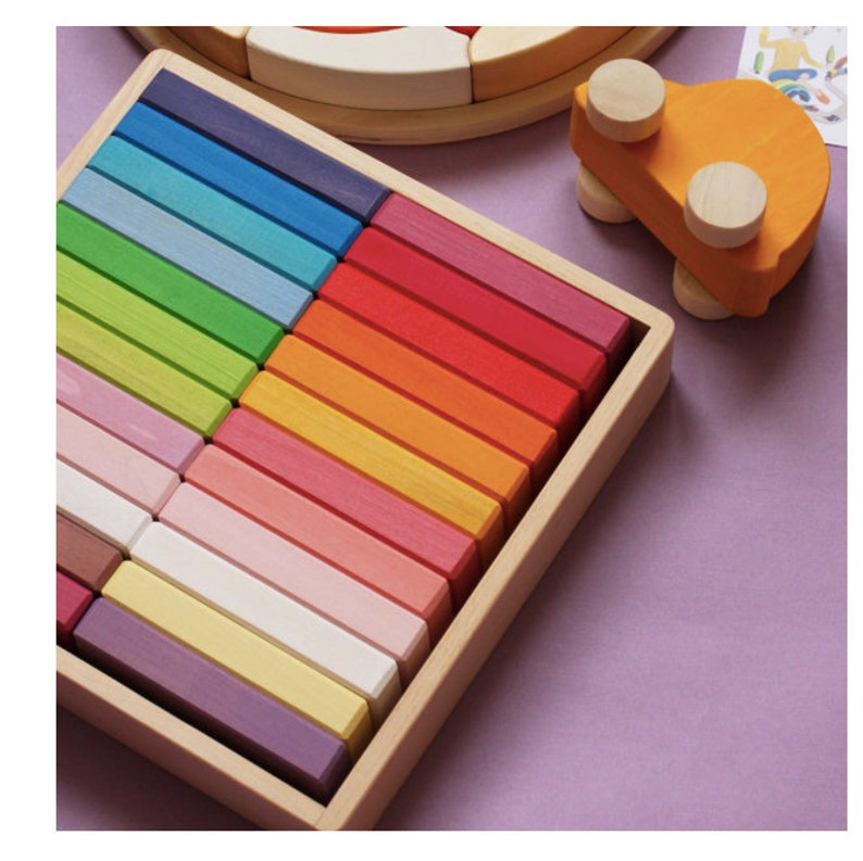 Rainbow wooden blocks set / Rainbow wooden bricks set / Wooden blocks /  Building blocks set / montessori materials / Waldorf toys