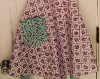 1940's Full Style Vintage Apron (Pink and Aqua)