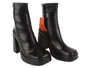 BYPASS 90'S LEATHER BOOTS / New Deadstock / Square-Toe Boots / Short shaft / 90s / Clubkid / Grunge / Booties Block heel / Leather / Square