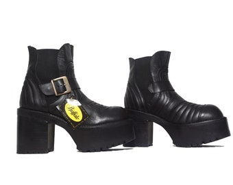 BUFFALO BOOTS / NEW Deadstock Vintage / True 90's Platform Boots / Moto / Grunge / Clubkid / Chunky / Clunky / Booties / Cult / Leather