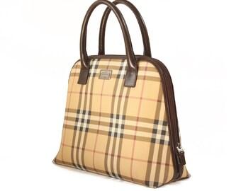 7cc5b3144 VINTAGE RETRO BURBERRY half-moon tote bag / burberry checked / authentic  design / designer / luxury / plaid / 90's / logo / checked