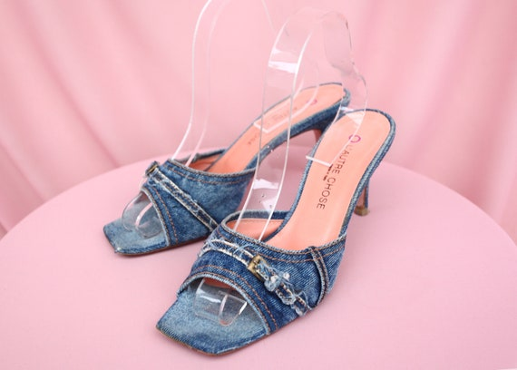90's L'autre Chose denim heels / slingback / slip-