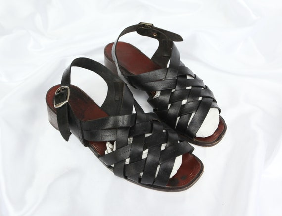 90'S SQUARE TOE leather sandals / cross strap sand