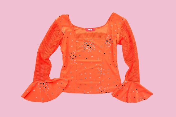 RAVE STYLE orange stretchable shirt with fishnet a