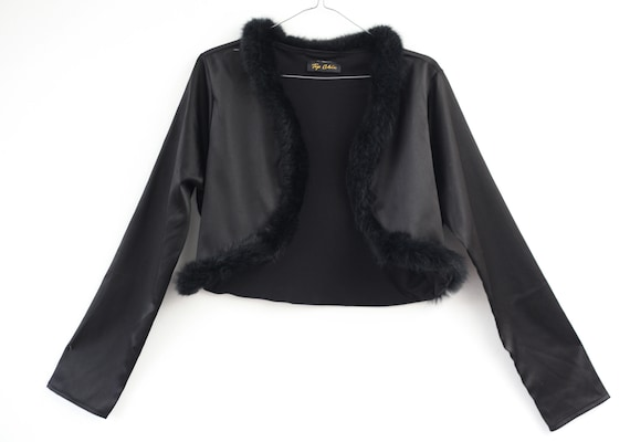 AMAZING cropped shiny 90s jacket with fur collar … - image 6