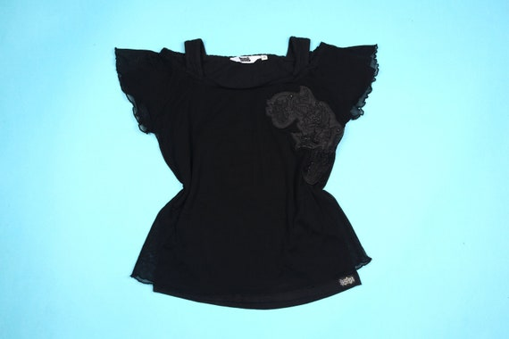 90'S MESH t-shirt with flower detail and ruffle sl