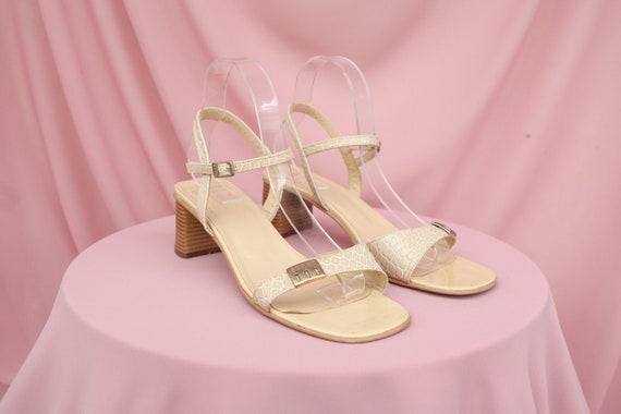 COOL 90S VINTAGE beige snakeskin square-toe sandal
