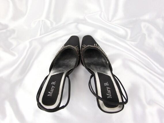 90'S SLINGBACK HEELS / Black Mules / Glitter ston… - image 2