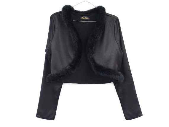 AMAZING cropped shiny 90s jacket with fur collar … - image 2