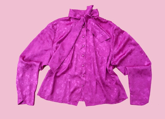 PURPLE 80S SHIRT / blouse / bright colored / shiny