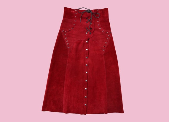 RED LEATHER SKIRT / Corset Style High Waist / Uniq