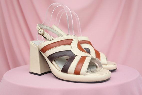 90S BUFFALO SANDALS / Square-toe /  Striped / Genu