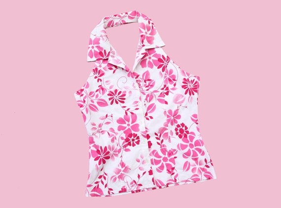 Y2K PINK TOP  / collared top with buttons  / flowe