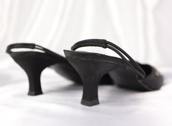 90'S SLINGBACK HEELS / Black Mules / Glitter ston… - image 8