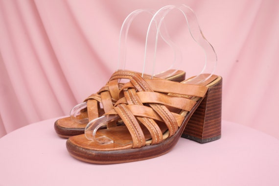 90S BUFFALO SANDALS / Square-toe / Light Brown / T