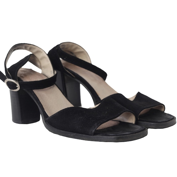 90S SQUARE TOE suede leather sandals / Size Eur 39