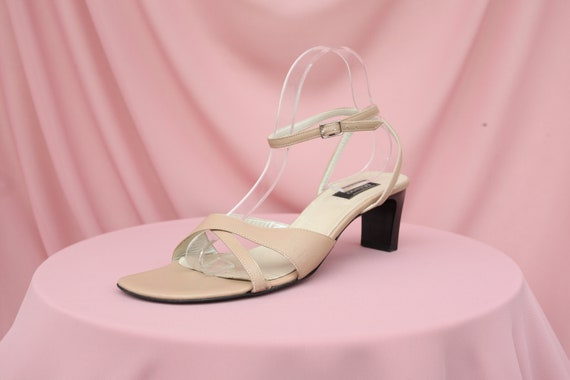90S SQUARE-TOE SANDALS / beige squaretoe heels / n