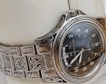 New Hamilton Khaki King II Automatic Mens H64455133 Hand Engraved Watch wristwatch