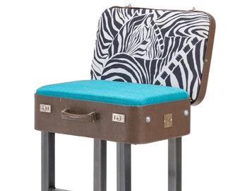 Barstool Case Chair Brown/Blue zebra pattern