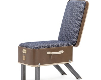 Suitcase Chair brown/blue Patterned