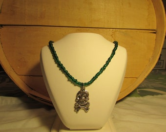 3 Glass Beaded Chorker's in different colors & Skull Crossbones Charm's