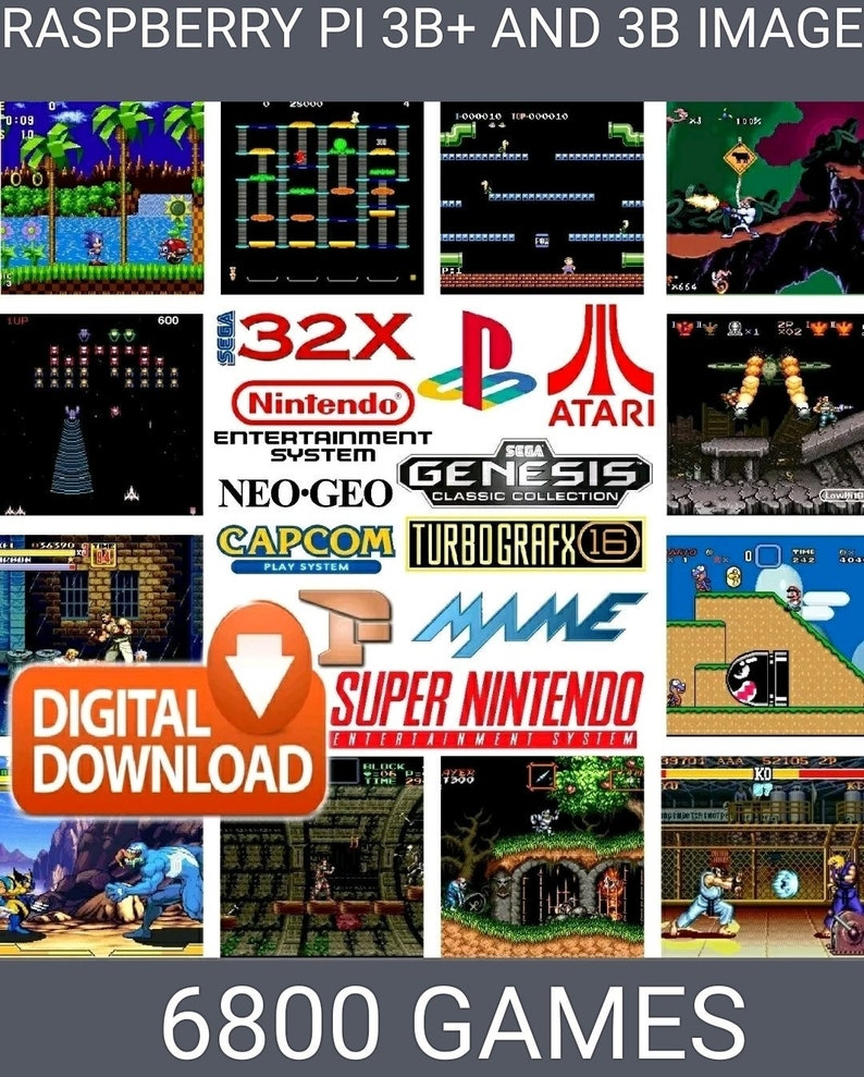 32gb retropie image (download) RASPBERRY PI 3B+ AND 3B 33 systems 6800+games