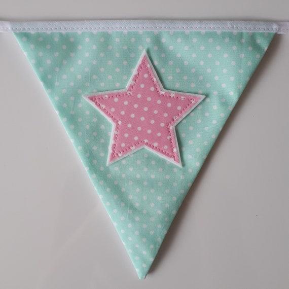 FREE P/&P £1 PER FLAG POLKA DOTS /& PASTELS PERSONALISED BUNTING ANY NAME