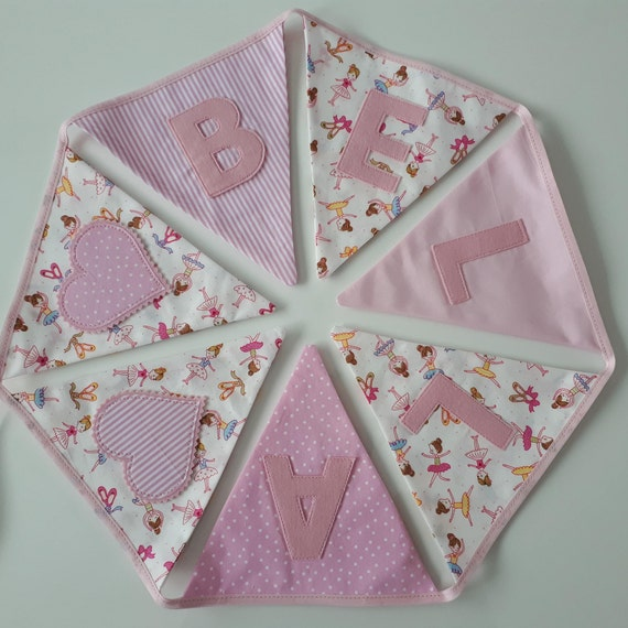 Girls PERSONALISED Pink Floral Bunting New Baby Christening Birthday Present