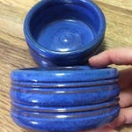 Small pet dish in sapphire blue