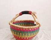 Small Fair Trade Bolga Market Basket - Handwoven in Ghana