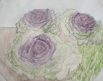"""Cabbage (garden) (original, one of a kind, watercolor 9""""x12"""")"""