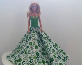 Handmade Barbie green evening dress