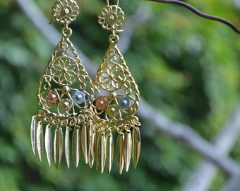 Mexican gilded filigree Earrings Fascinante handmade golden Mexican jewelry