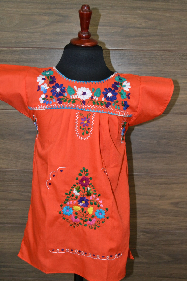 43881fc5522 2-4 years Mexican Dress Traditional Mexican Flowered Dress