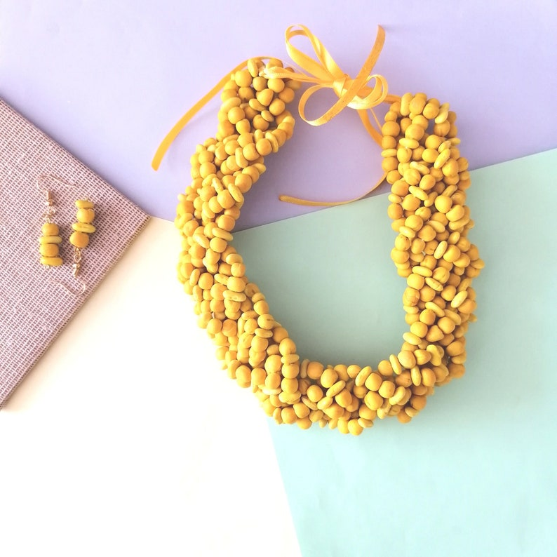 Beautiful necklace made with vibrantly colored natural seeds Mexican crafts Mexican accessories frida khalo accessories