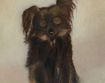 Oil Painting Portrait of a Dog Animal Fine Art Signed Original