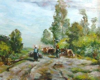 Oil Painting Landscape with Cows after van Borselen Fine Art Signed Original